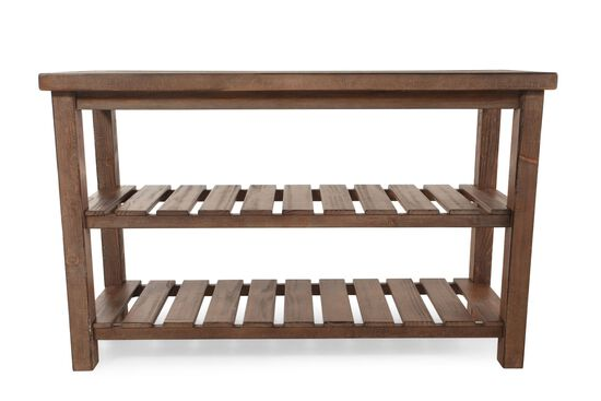 Slat Shelf Casual Sofa Table in Brown