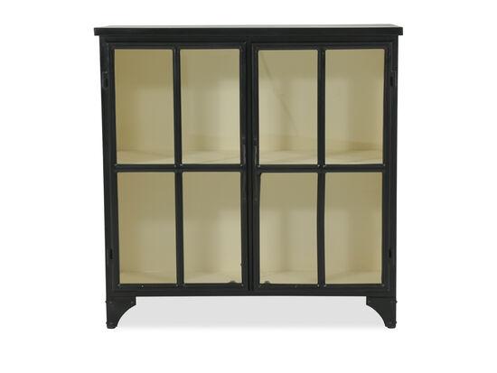 Casual Windowpane-Door Consolein Black