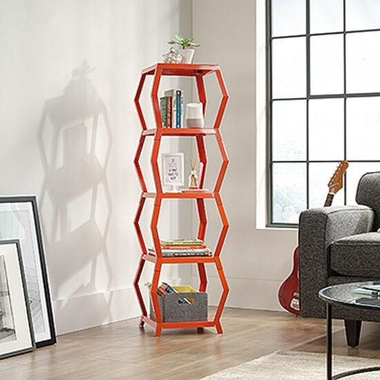 Four-Shelf Modern Tower Etagere in Orange Blush