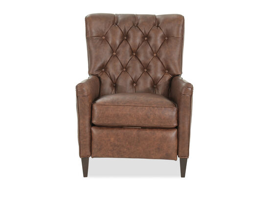 "Leather Button Tufted 29"" Pressback Recliner in Brown"