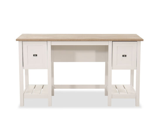 """54"""" Transitional Cottage Road Two-Drawer Desk in White"""