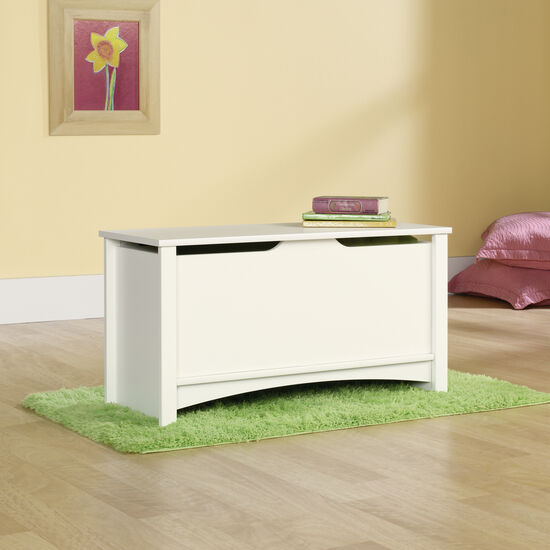 """19"""" Transitional Square Storage Chest in Soft White"""