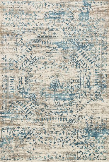 "Transitional 5'-3""x7'-6"" Rug in Ivory/Blue"