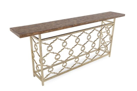 Intertwined Filgree Insert Transitiional Hall Console in Light Brown