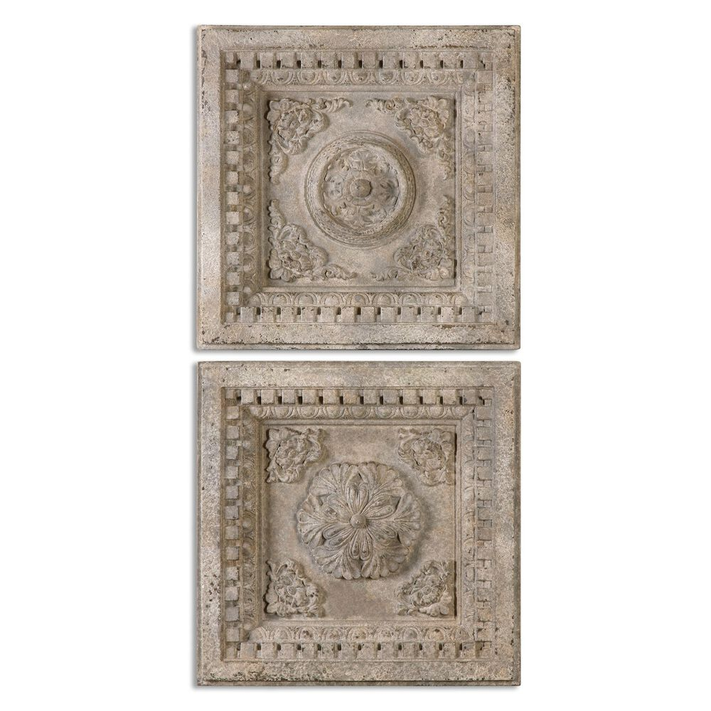 Two-Piece Distressed Relief Square Plaques in Aged Ivory