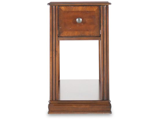 Rectangular Traditional Chairside Accent Table in Medium Brown