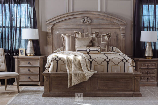 "76"" Traditional Carved Queen Panel Bed in Parchment"