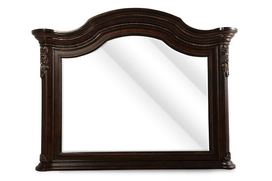 """44"""" Traditional Beaded Accent Mirror in Dark Cherry"""