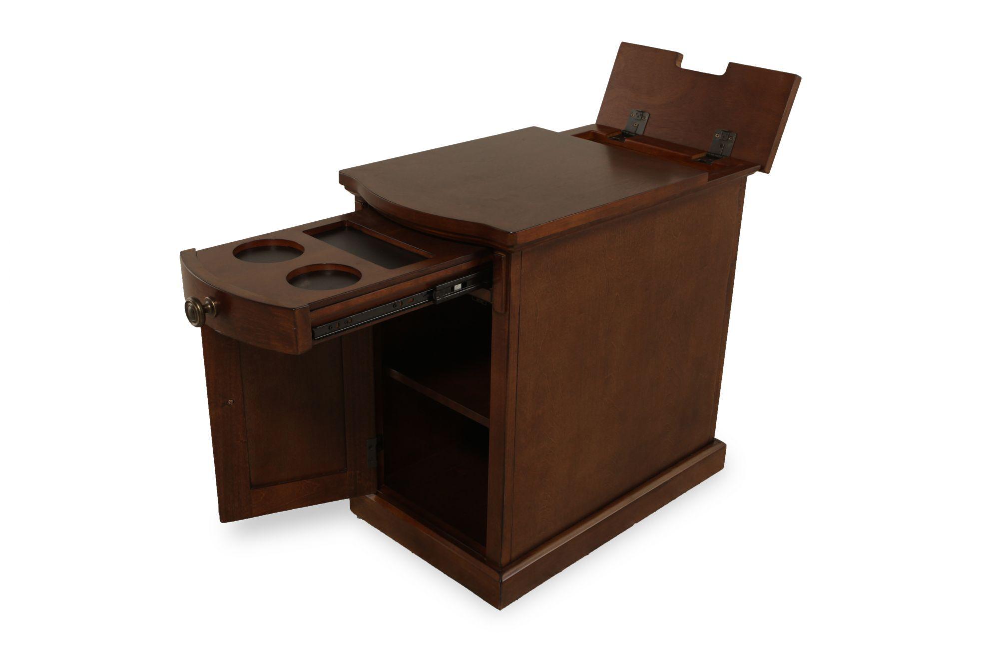 Rectangular Contemporary Chairside Table In Dark Cherry