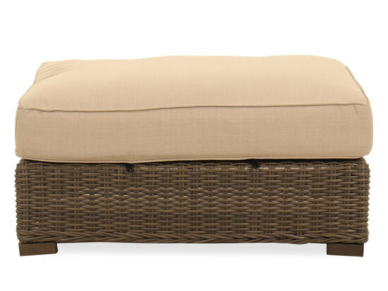 UV-Resistant Woven Ottoman in Linen Champagne