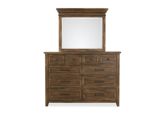 Two-Piece Contemporary Dresser and Mirror in Dark Gray