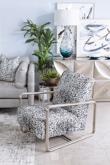 Contemporary Accent Chair in White/Black