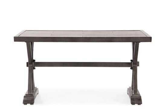 X-Pedestal Contemporary Rectangular Cocktail Tablein Medium Brown