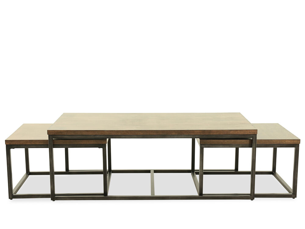 Three-Piece Nesting Cocktail Table Set in Brown