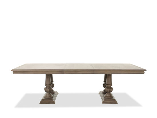 """Traditional 84""""-108"""" Double Pedestal Dining Table in Cobblestone"""