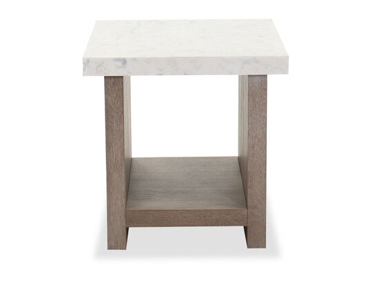 Transitional Square End Table in Flaky Oak