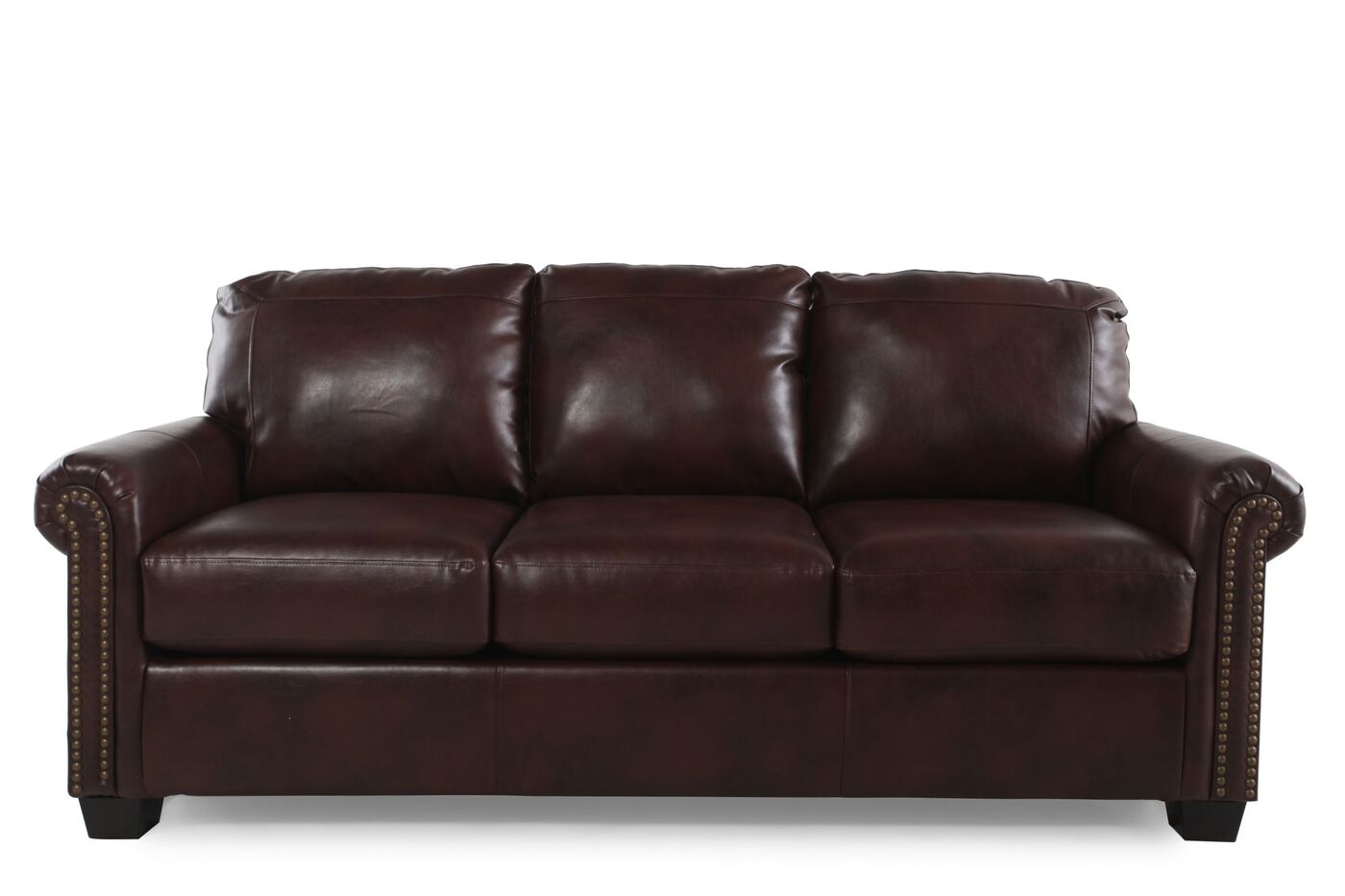 Rolled Arm Contemporary 83 Queen Sleeper Sofa In Chocolate Mathis Brothers Furniture