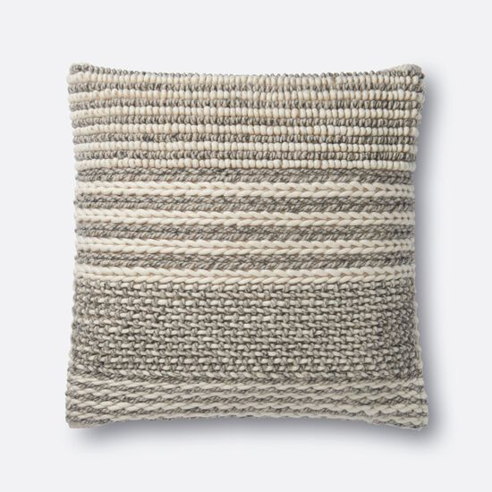 """22""""x22"""" Cover w/Poly Pillow in Grey"""