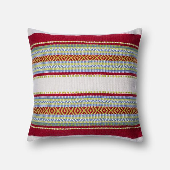 """Indoor/outdoor 22""""x22"""" Cover w/down pillow in Red/Multi"""