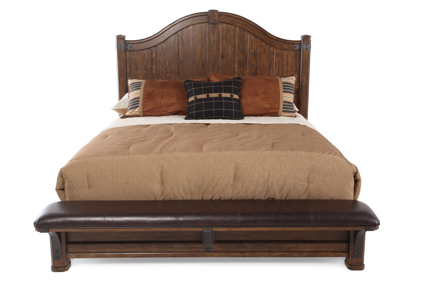 Traditional Planked Arch Panel Bed in Brown | Mathis Brothers Furniture