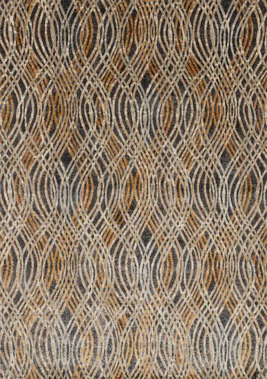 "Contemporary 2'-3""x10'-0"" Rug in Charcoal/Gold"