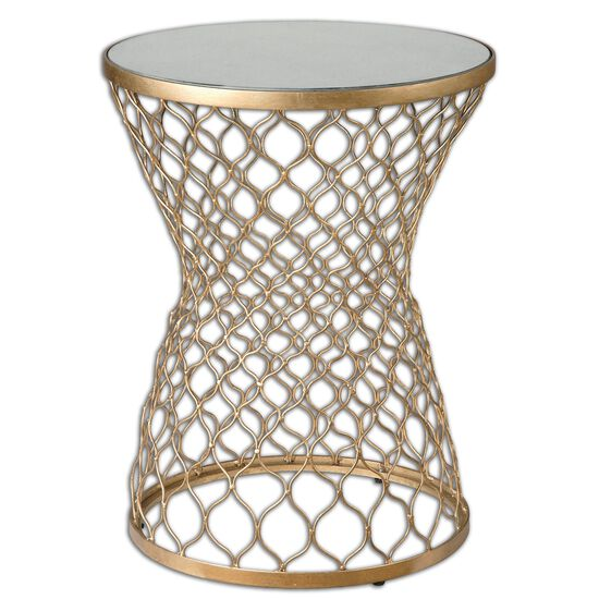 Fretwork End Table in Gold Leaf