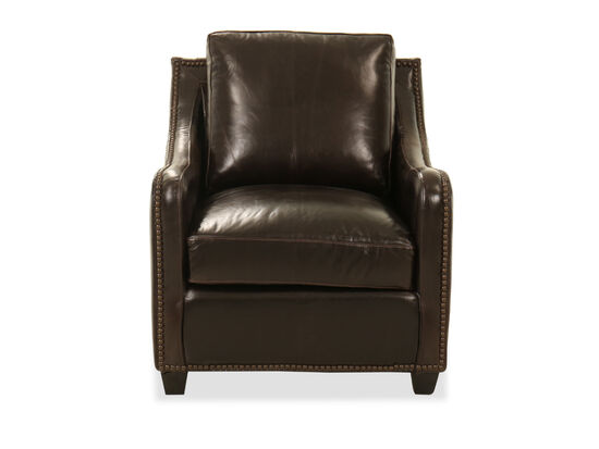 """Nailhead Accent Leather 31"""" Chair in Brown"""