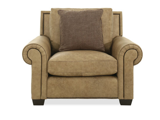 """Nailhead Accented Leather 47"""" Chair in Brown"""