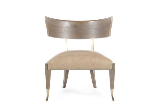 "Winged-Back Contemporary Leather 28"" Chair in Taupe"