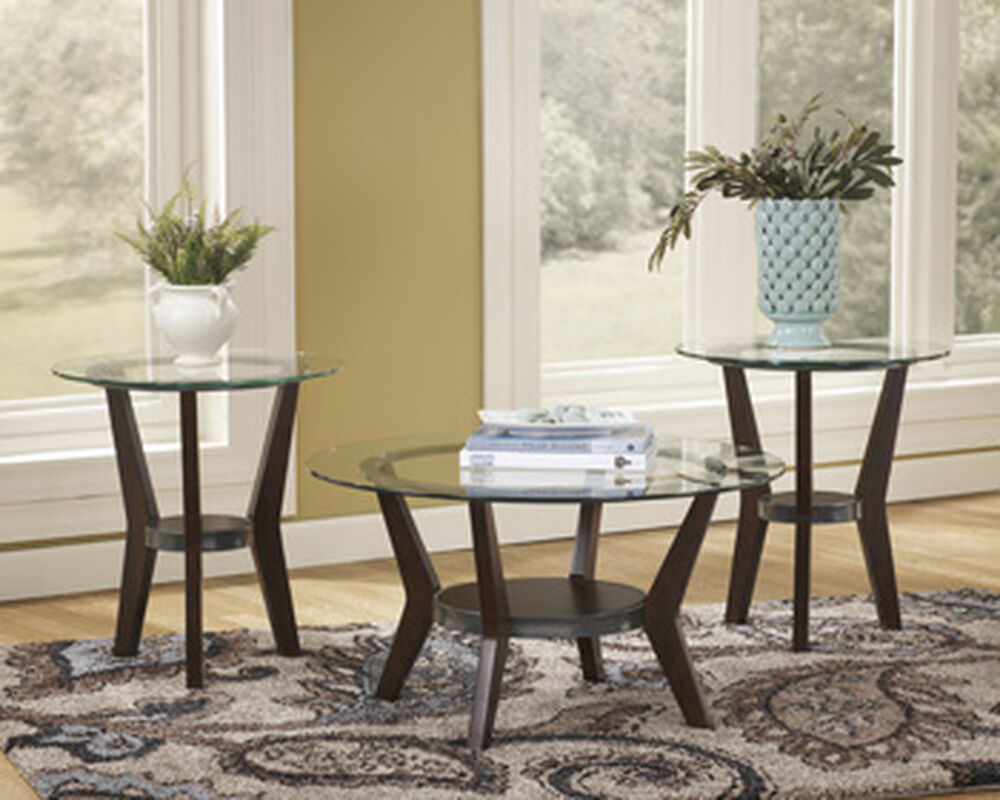 Three-Piece Round Contemporary Accent Table Set in Dark Brown