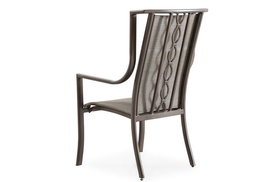 Weather-Resistant Aluminum Sling Dining Chair in Platinum Gray