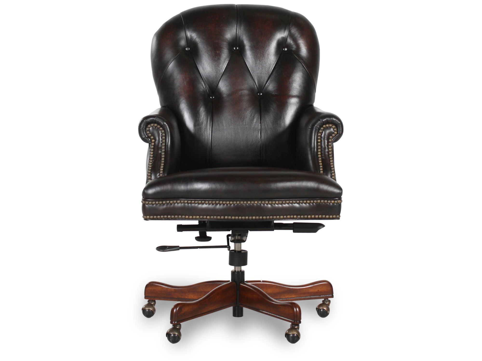leather button tufted executive swivel tilt chair in dark. Black Bedroom Furniture Sets. Home Design Ideas