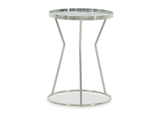 Stone-Top Modern Side Table in Silver