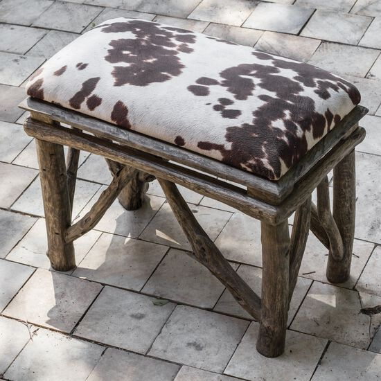 """Cow Hide Print 22"""" Accent Bench in Weathered Driftwood"""