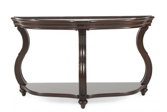 Scrolled Legs Contemporary Demilune Sofa Table in Cherry