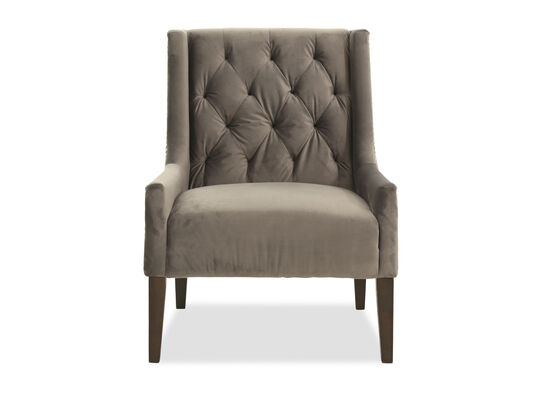 "Velvet Tufted Casual 29"" Accent Chair in Gray"