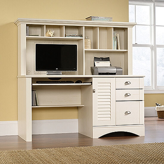 """62"""" Transitional Computer Desk with Hutch in Antiqued White"""