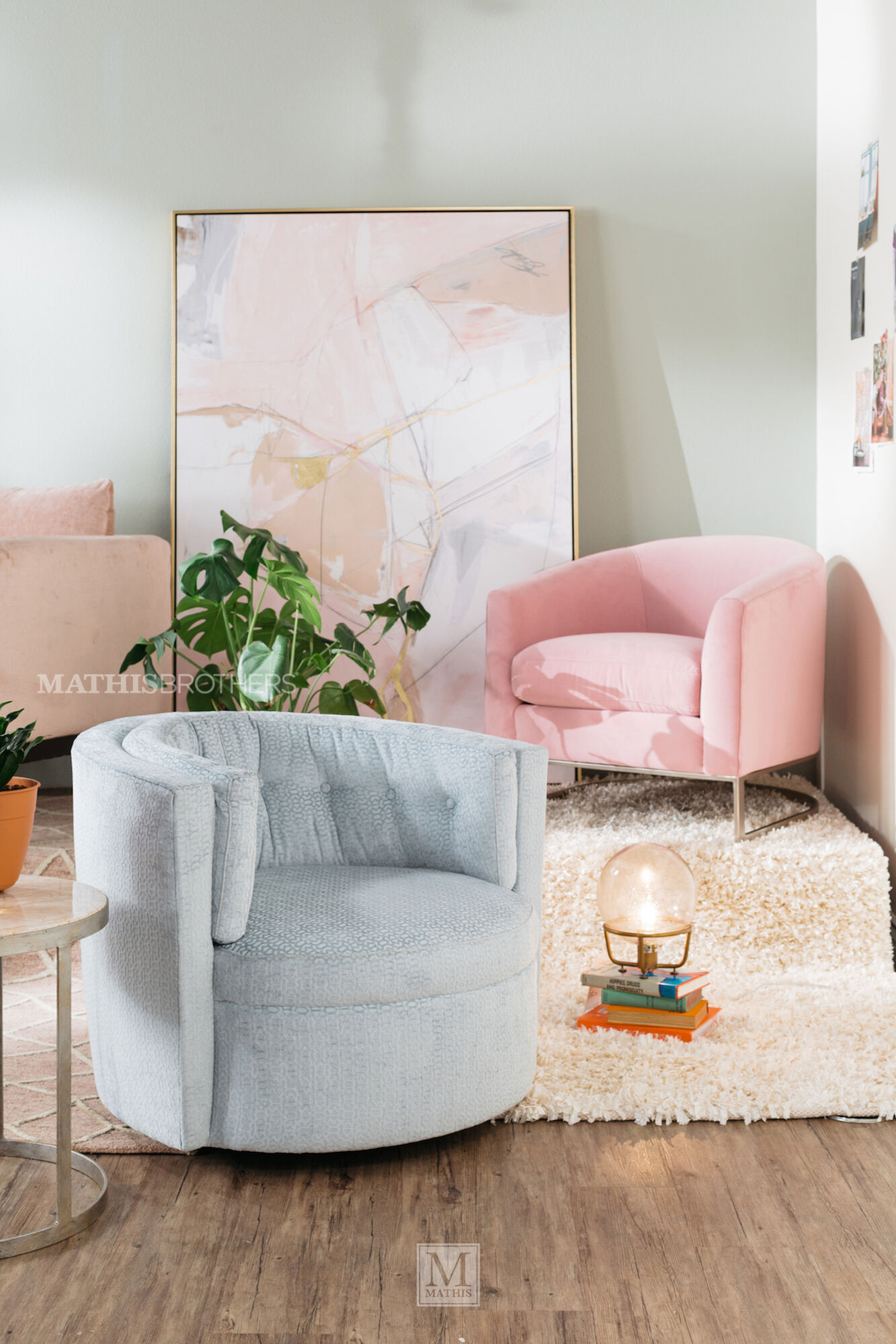 """Mid-Century Modern 31"""" Accent Chair in Pink   Mathis ..."""