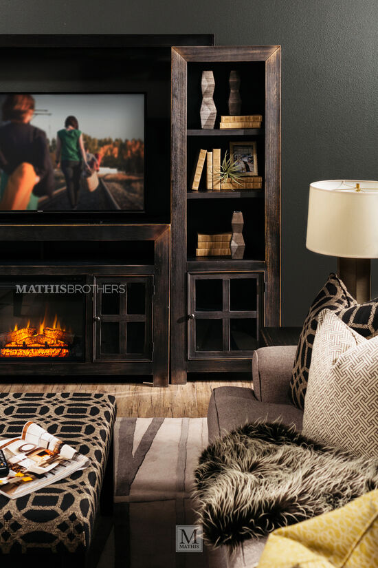 Four-Piece Casual Wall Unit in Vintage Weathered Black