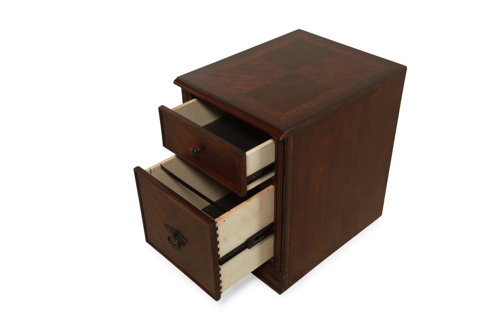 Two Drawer Traditional Mobile File Cabinet In Medium Brown