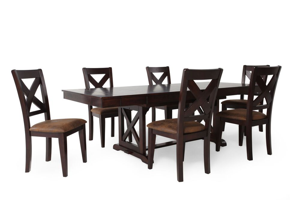 Seven-Piece Rectangle Extension 71'' to 95'' Dining Set in Dark Espresso