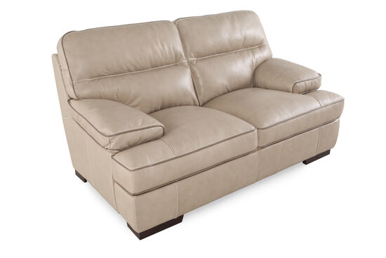 "Contemporary Leather 69"" Loveseat in Wheat"