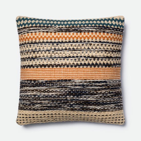 """22""""x22"""" Cover w/Down Pillow in Orange/Blue"""