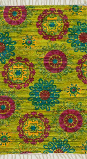 "Transitional 1'-8""x3' Rug in Lime/Pink"