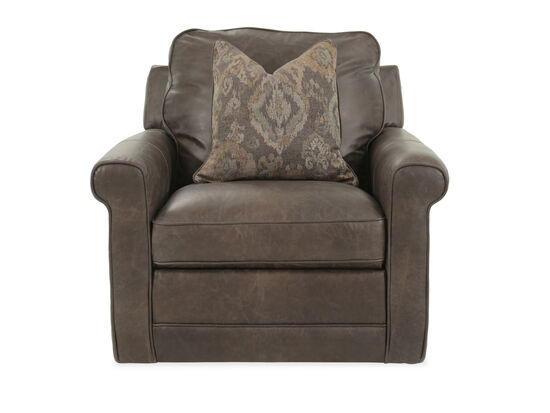 "Self-Centering Leather 40"" Swivel Chair in Brown"