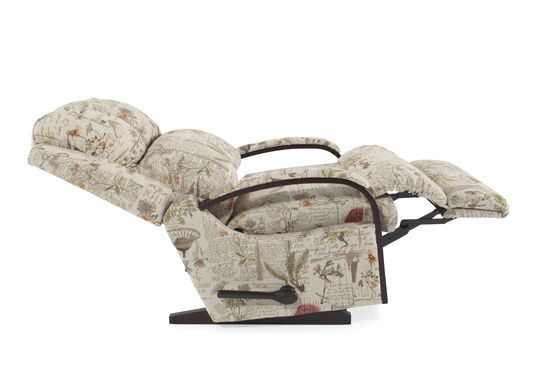 Floral-Patterned Rocker Recliner in Cream