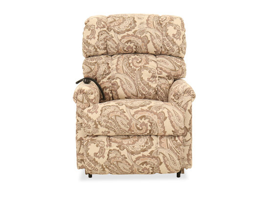 """Casual 33.5"""" Paisley-Patterned Electric Lift Recliner in Beige"""