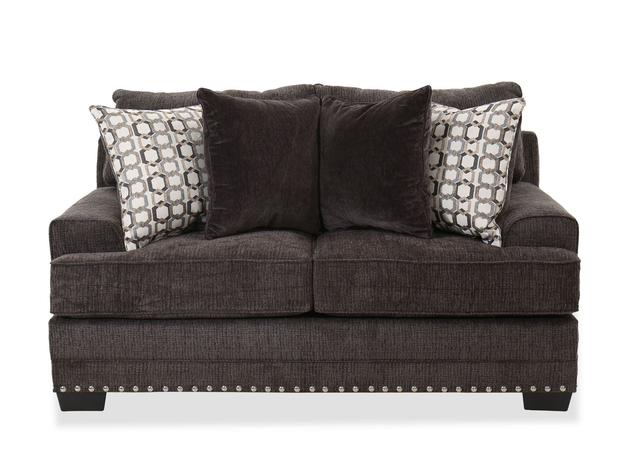 Nailhead-Accented Contemporary Loveseat in Charcoal | Mathis ...