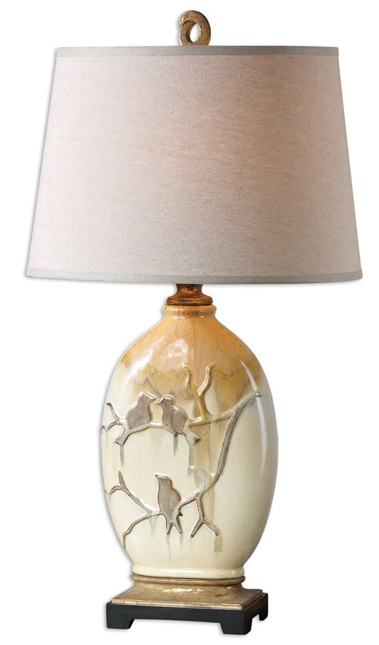 Bird-Embossed Ceramic Lamp in Aged Ivory