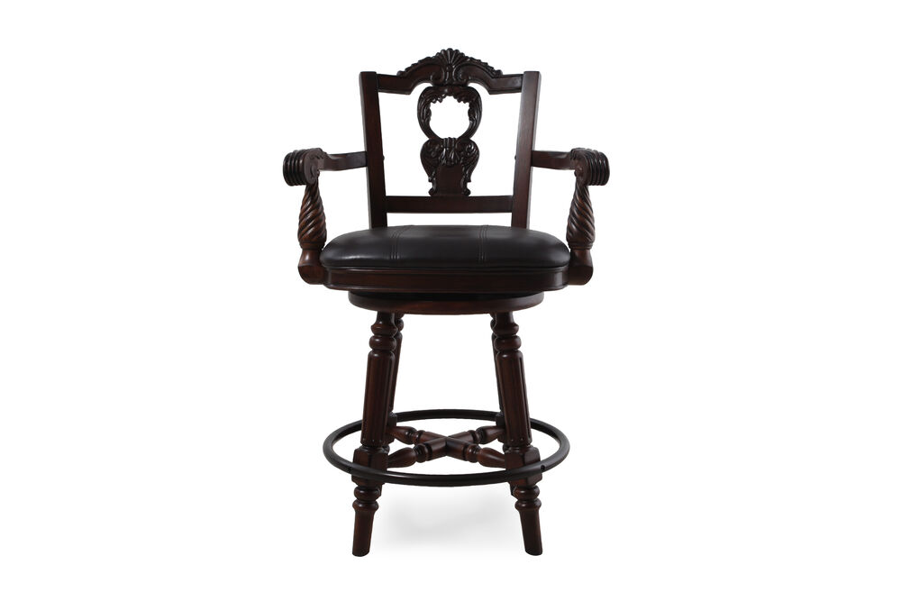 Traditional 43 Quot Swivel Bar Stool In Dark Brown Mathis